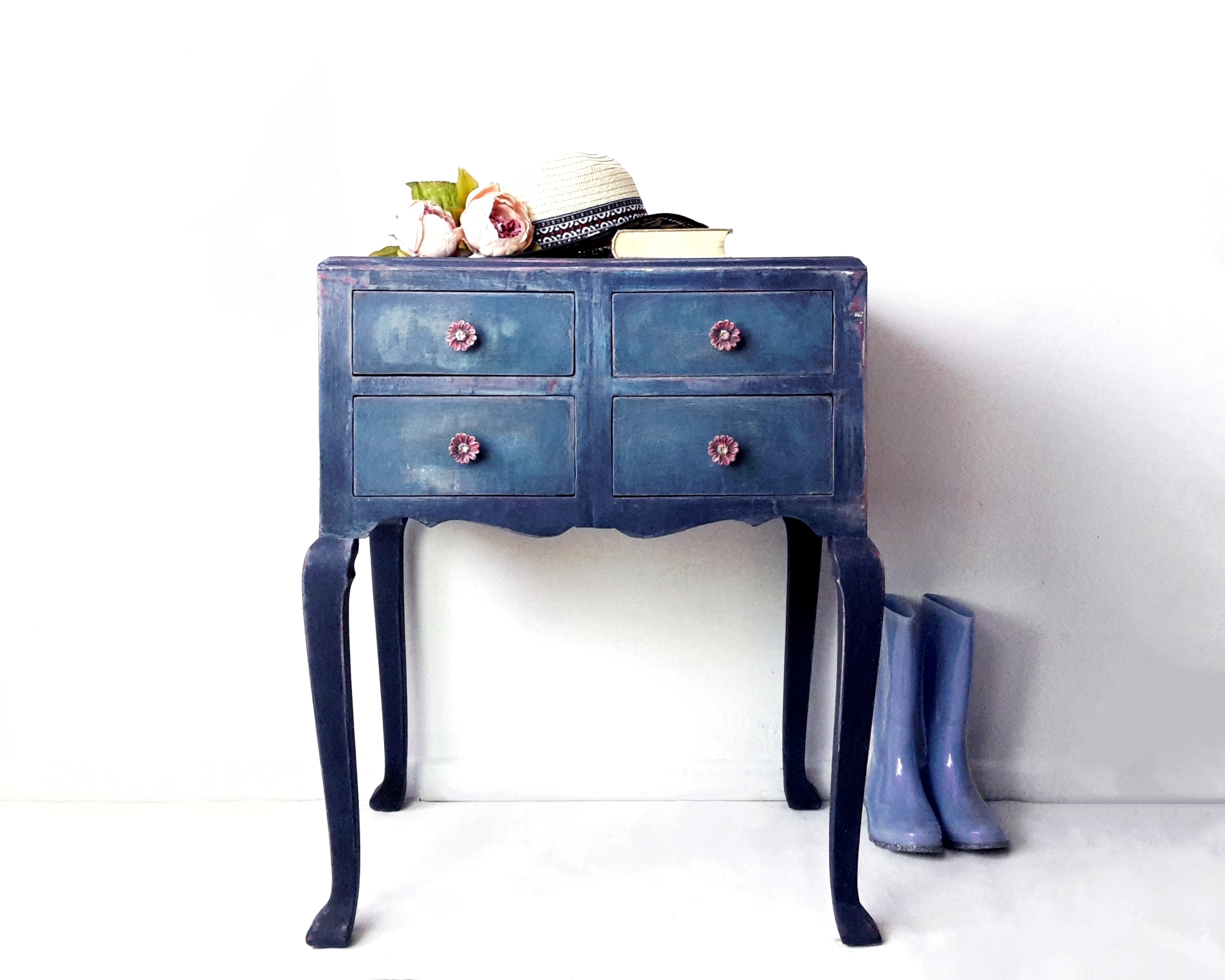 Hand Painted Blue Dressing Table Vanity Table Drawers Boho Furniture Country Furniture Blue Furniture Vinterior