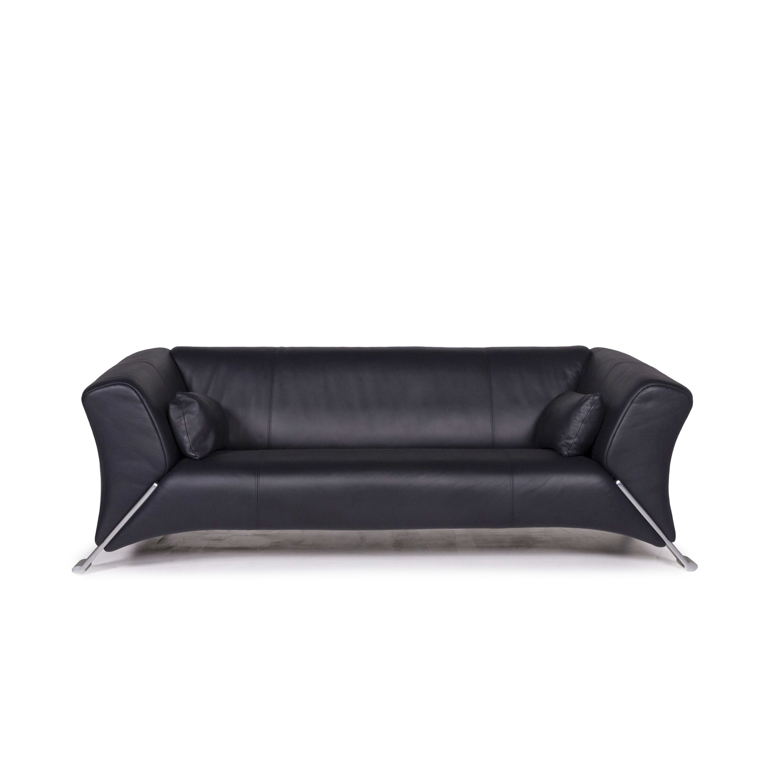 Rolf Benz 322 Leather Sofa Blue Dark Blue Three Seater Couch #12078
