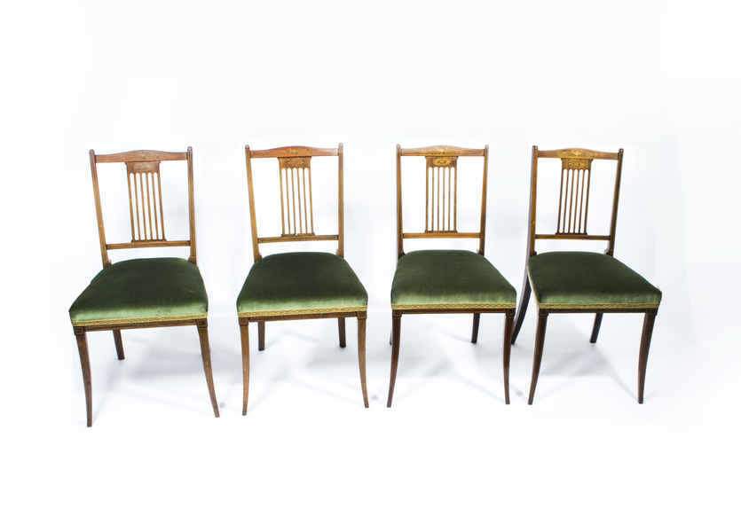 Set Of 4 Edwardian Inlaid Rosewood Chairs