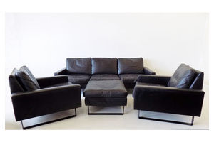 Cor Conseta Black Leather Living Room Set By Friedrich Wilhelm Möller 60s photo
