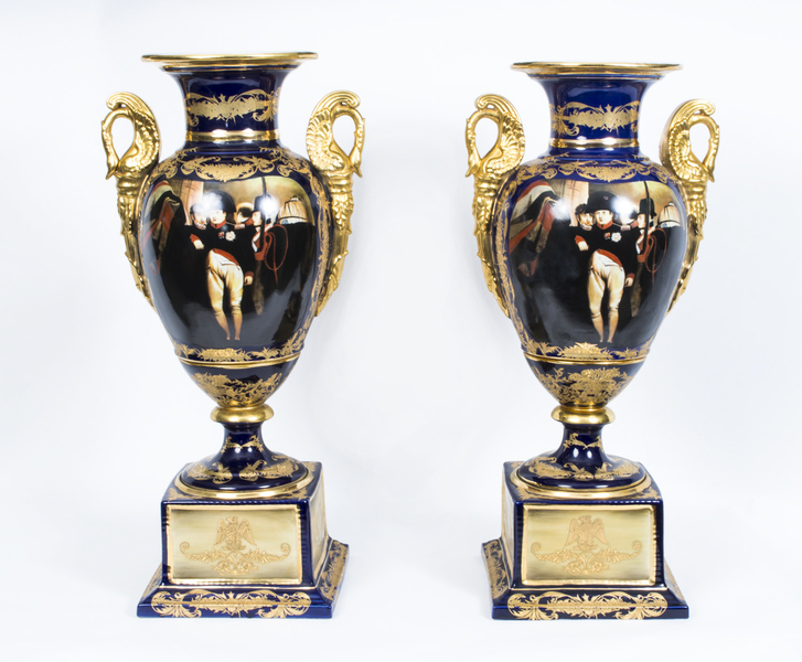 Pair Of Large French Empire Porcelain Vases Napoleonic