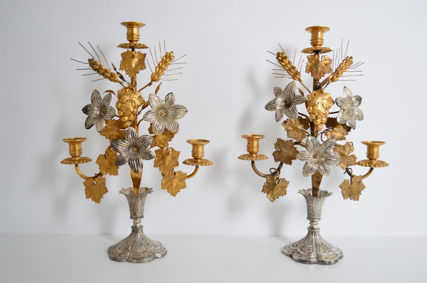 Antique French Candlesticks 1890s Set