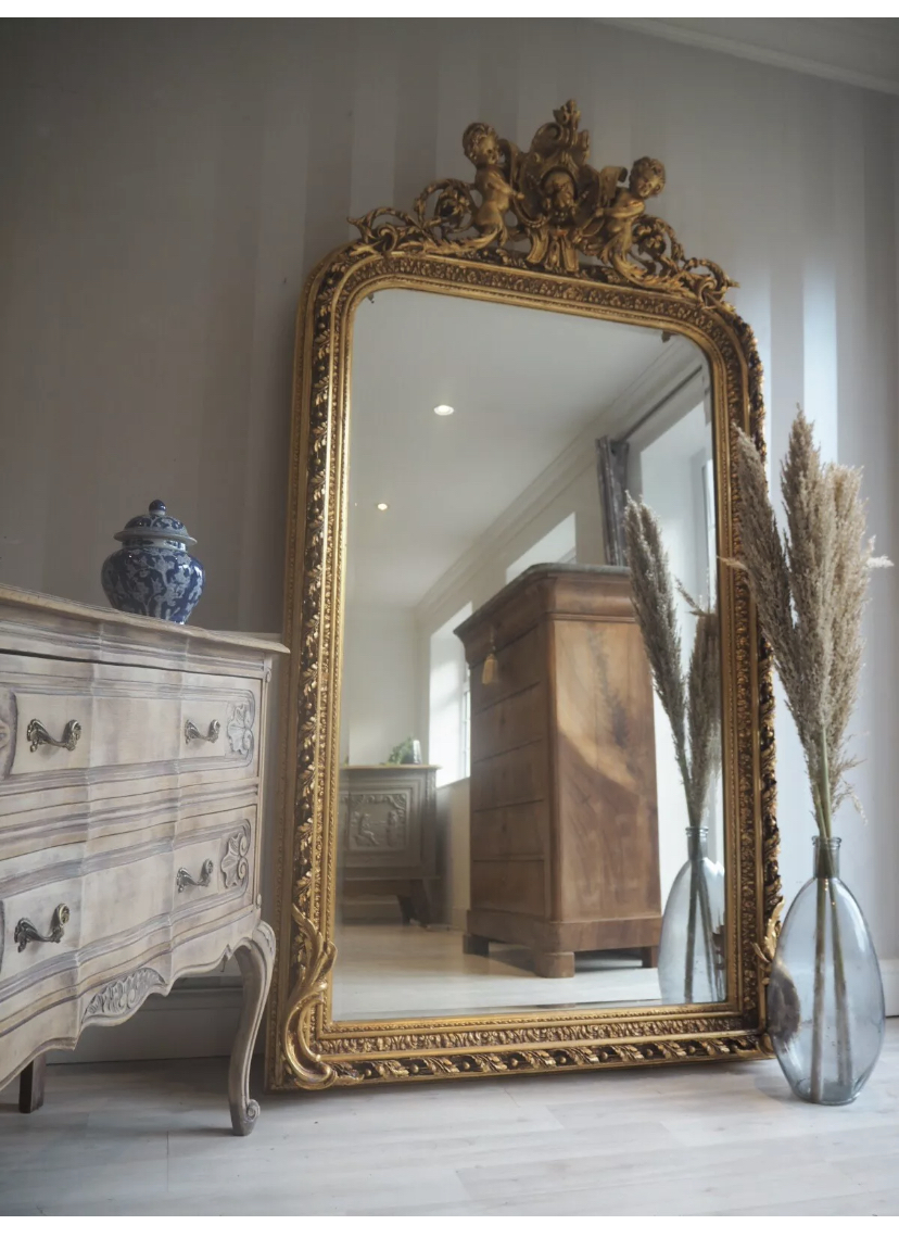 Large Floor Freestanding Arched Vintage Gold Mirror Vinterior