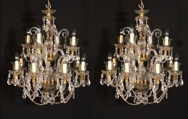 Vintage Venetian 12 Light Chandeliers