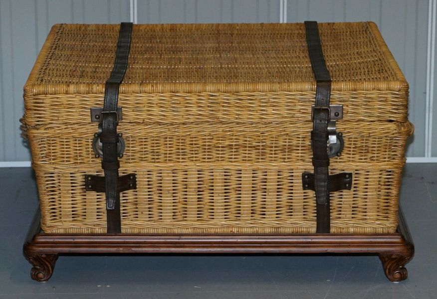 Ralph Lauren Marseilles Wicker Luggage Trunk Coffee Table Huge Internal Storage Ralph Lauren Vinterior