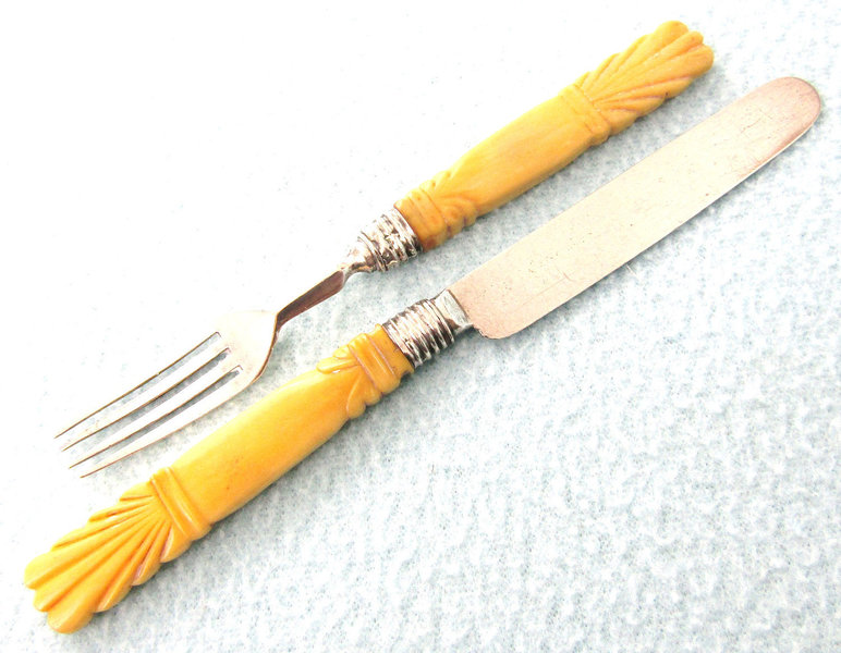Stunning Rare Antique Pair Knife And Fork Carved Bone Handles Sterling Silver Cutlery Travel Set Small Cutlery Thomas F Vinterior
