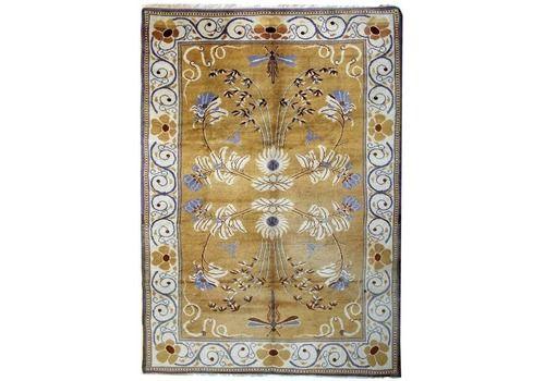Rare Antique Irish Rug, Handmade Carpet Gold Floral Design Large Arts And Craft Area Rug