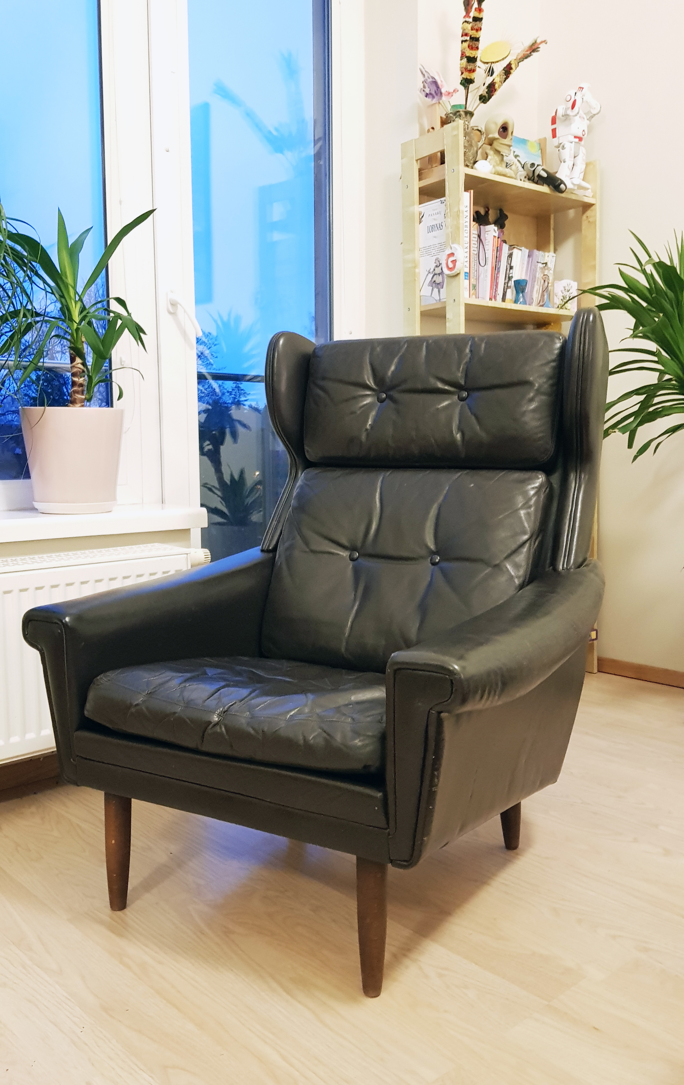 Danish Leather Mid Century Lounge Chair Black Vinterior