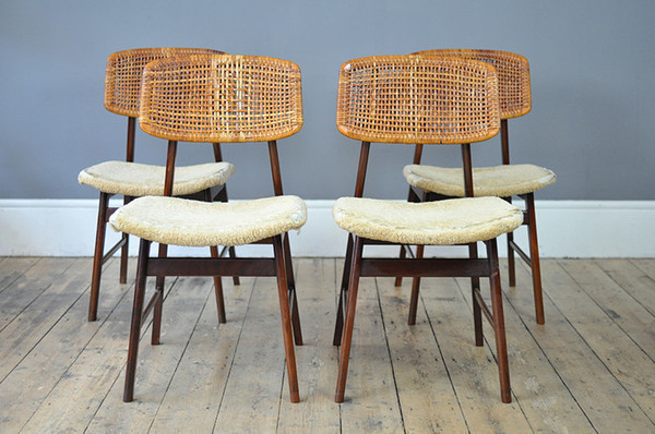 Set Of Four P J Muntendam For Gebroeder Jonkers Rattan Chairs