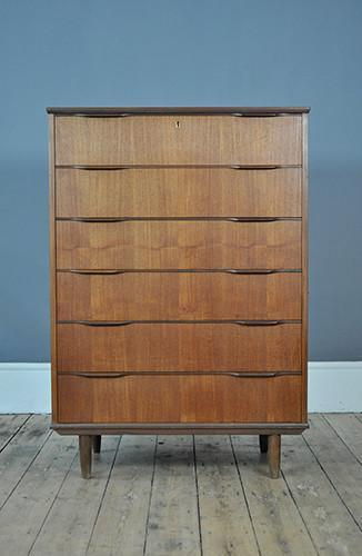 Large Danish Chest Of Drawers With Lipped Handles
