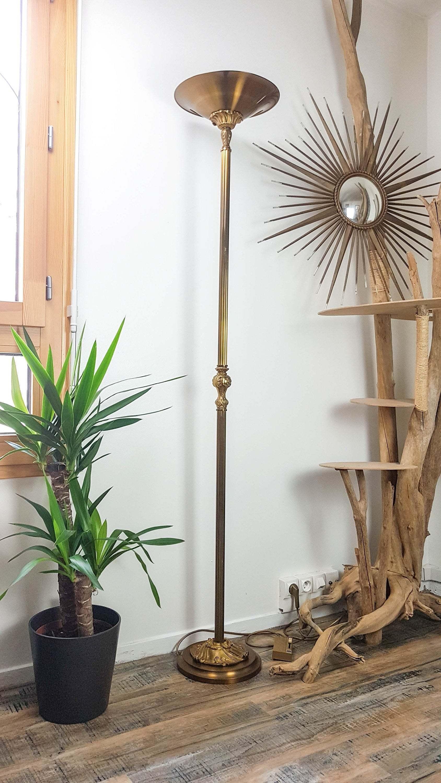 Louis Xv Gilded Floor Lamp Bronze Reflector And Round Support Lucien Gau Halogen Floor Lamp Mid Century Vintage Lighting Luxury Home Lamp Vinterior