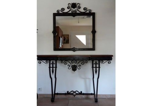 Huge Wrought Iron Mirror And Console   Coat Of Arms And Lily Flowers Decorations