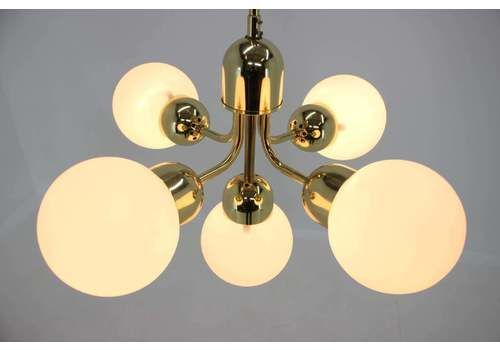 Vintage Chandelier Six Crystal Glass Shade Mid Century Pendant Light Space Age Light 1970s