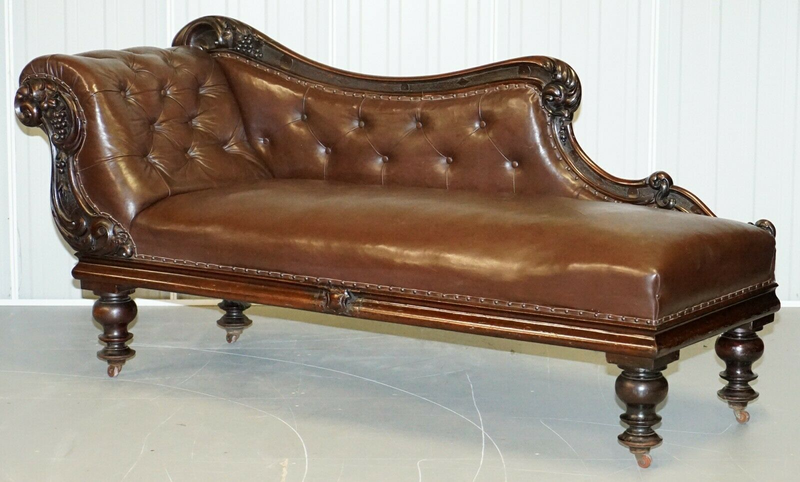 - Regency Mahogany & Brown Leather Chesterfield Buttoned Chaise