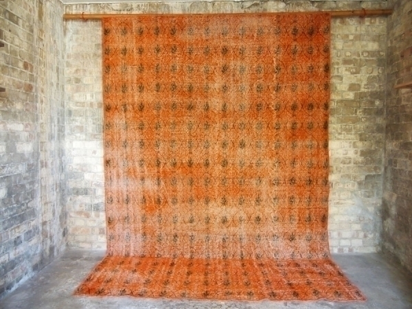 Orange Hand Woven Vintage Rug photo 1