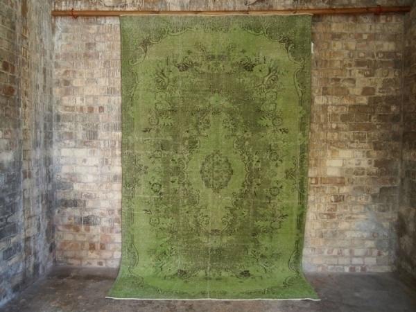 Green Vintage Over Dyed Turkish Rug photo 1