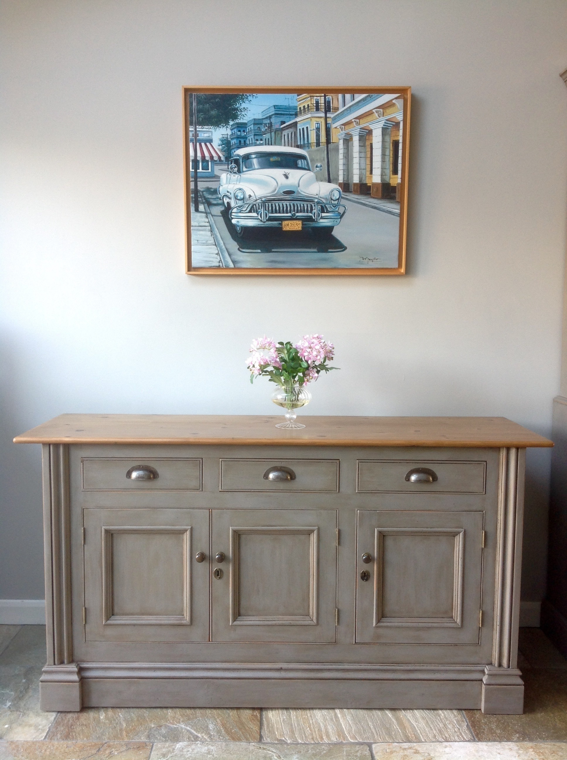 Rustic Chalk Painted Annie Sloan French Linen Grey Pine Country Sideboard Cupboard Kitchen Unit Dresser Vinterior