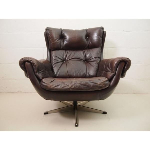 Mid Century Danish Brown Leather Swivel Chair photo 1