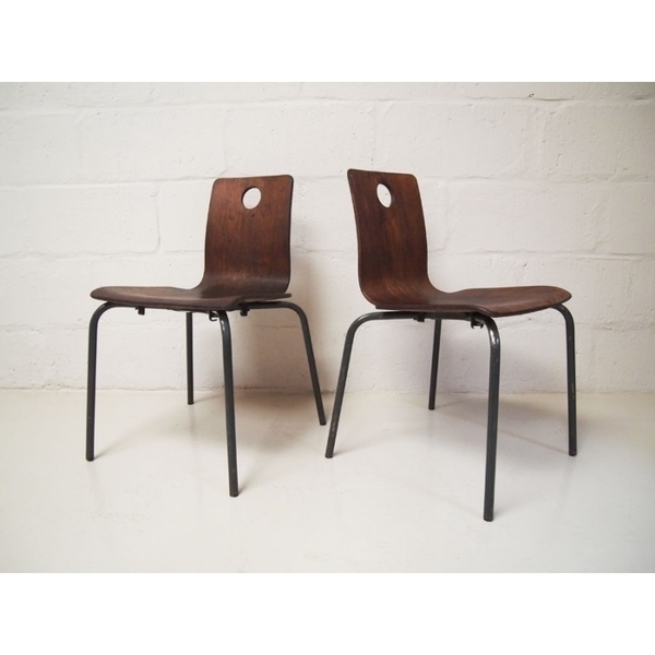 Pair Of Vintage Danish Brown Stacking Chairs