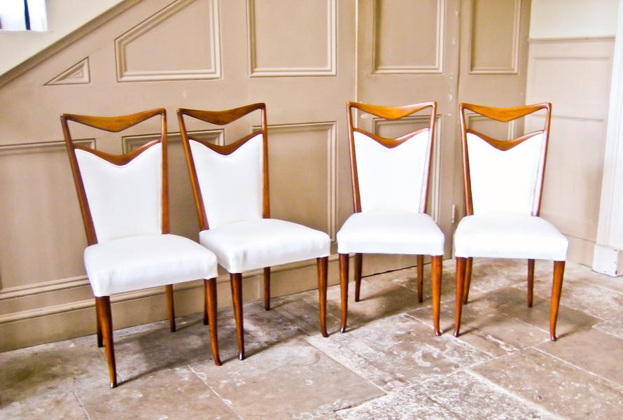 Set Of Four Dining Chairs By Carlo Di Carli In Walnut And Silk  Italian photo 1