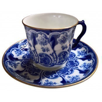 Bishop And Stonier (Bisto) Blue & White Antique Demi Tasse Coffee Cup & Saucer 1890s