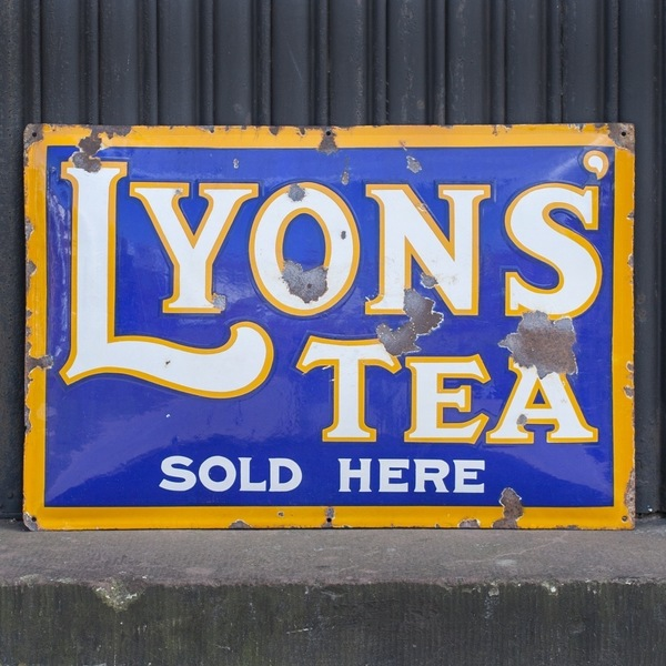 Unusual 'Pot Bellied' Lyons' Tea Enamel Sign