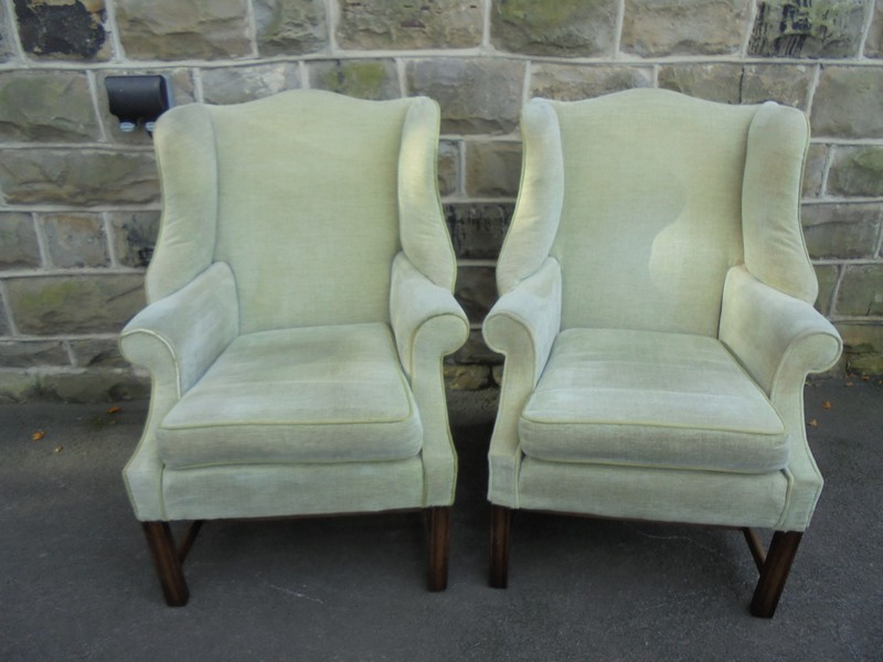 Good Pair English Upholstered Wing Armchairs