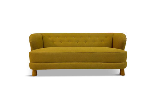 Mid Century 1940s Danish Three Seater Sofa In Mustard Bouclé