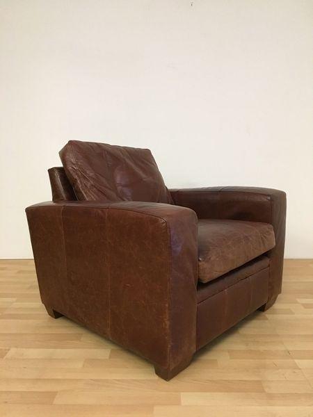 Vintage Tan Leather Rustic Club Arm Chair Tub Chair