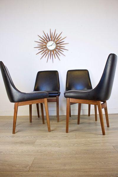 Mid Century Retro Danish Style Teak 4 Dining Chairs Black Vinyl