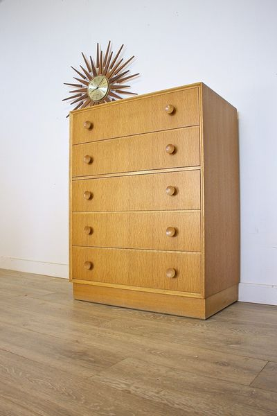 Mid Century Retro Danish Style Meredew Oak Chest Of Drawers Tallboy