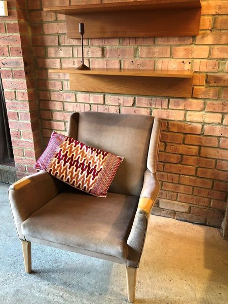 Vintage Parker Knoll Armchair 1950's 'Paw' Armrests Mink Coloured Velvet