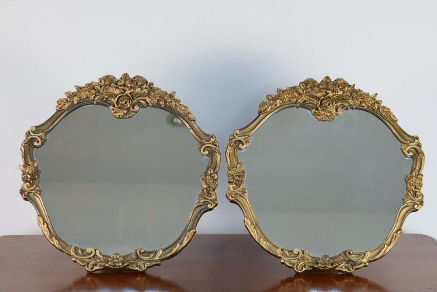 Pair Of Vintage Mirrors, Atsonea Mirrors, Table Top Vanity, Gold, Shop Display
