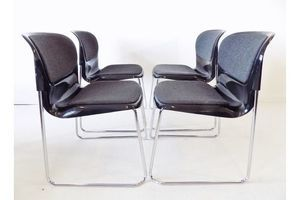 Thumb drabert sm 400 k set of 4 black stackable chairs by gerd lange 0