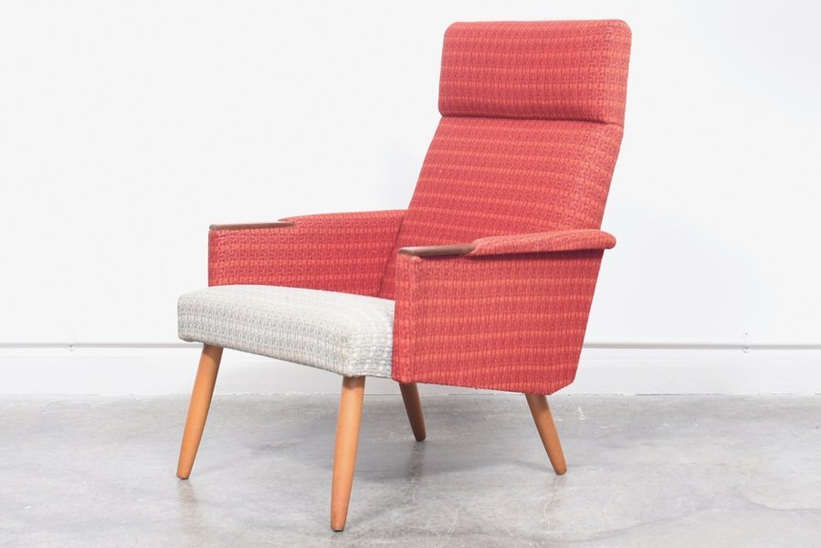 1960s Danish High Back Lounge Chair With Teak Paws And Beech Legs