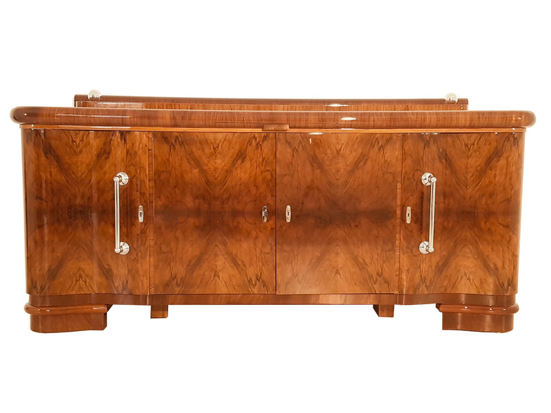 French Art Deco Credenza With Chrome Handles