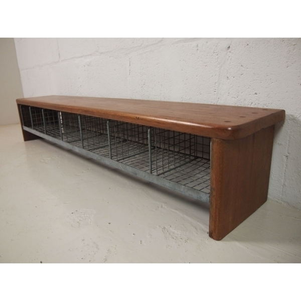 Vintage Locker Room School Bench In Solid Teak