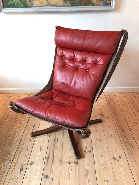 Mid Century Red Falcon Chair By Sigurd Ressell For Vatne Møbler, 1970s