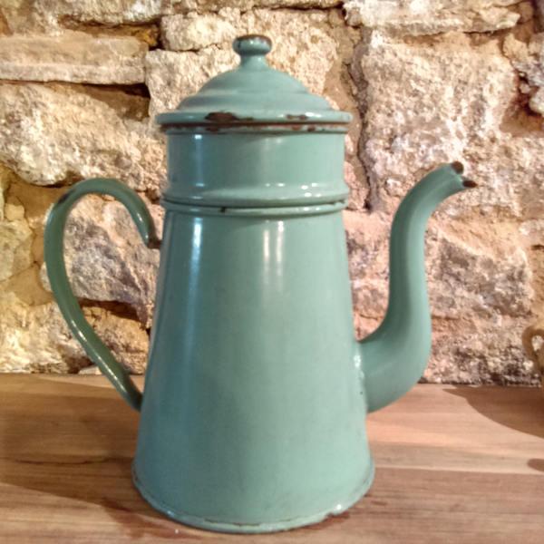 Vintage French Enamel Metal Coffee Pot Jug With Original Strainers