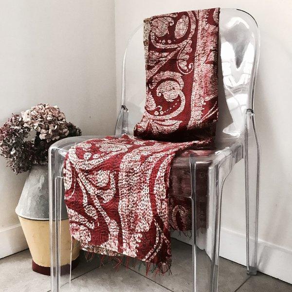 Vintage Double Sided Sari Table Runner Or Throw (Orange Tones)