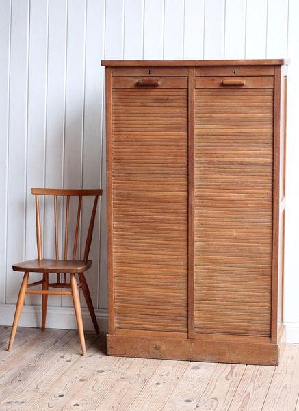 Vintage Antique French Wooden Oak Double Tambour Filing Cabinet