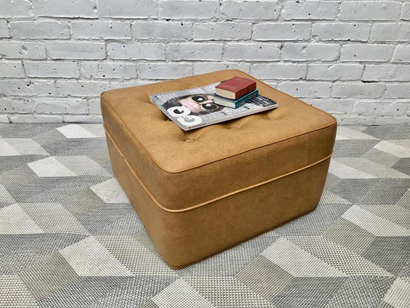 Vintage Footstool Pouffe Vinyl Beige #495