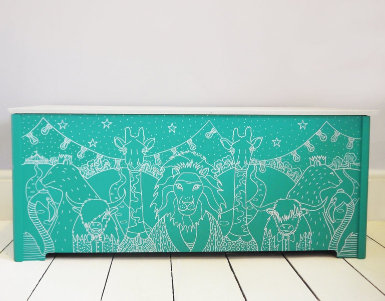 Upcycled Vintage Toy Storage Box   'Zoo Fest'   Teal