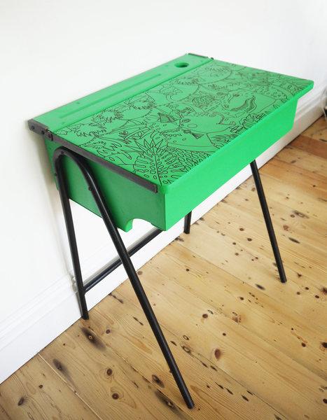 Upcycled Retro Mid Century Green Dinosaur Themed 'Dino Desk'