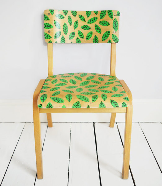 Upcycled Hand Painted Leaf Motif Retro Vintage School Chair