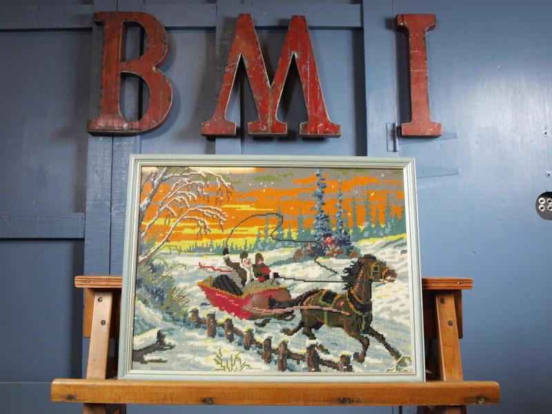 Vintage 1960s Large Framed Glazed Festive Xmas Cross Stitch Art