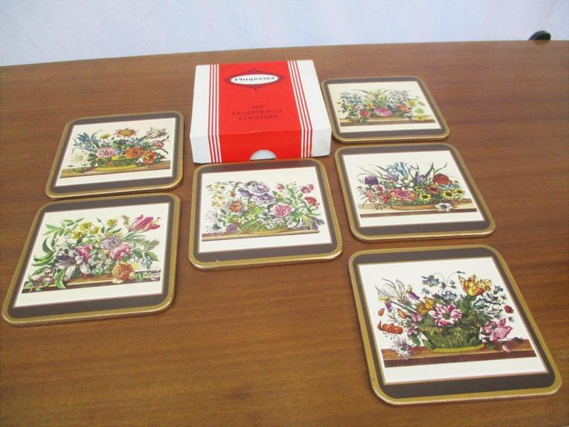Vintage 70's Pimpernel Set 6 Coasters Traditional Floral Mid Century Home Retro