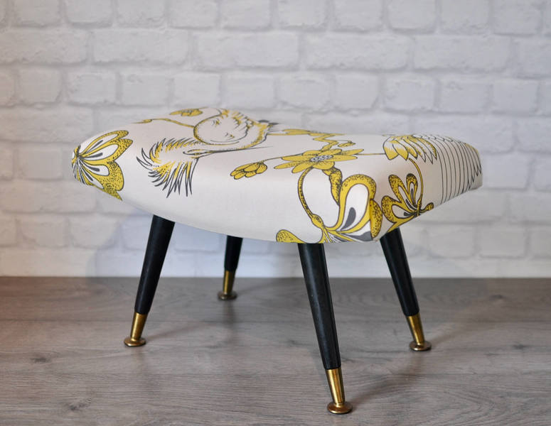 Upcycled Vintage Retro Mid Century Reupholstered Curved Stool, 1960s Footstool