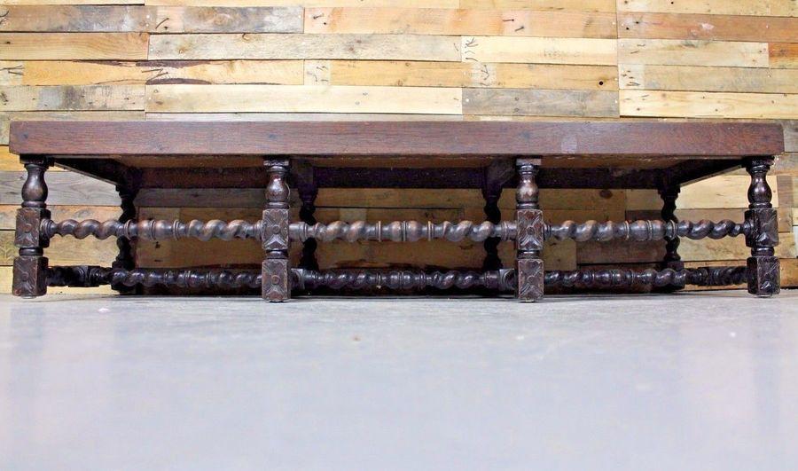 Vintage Antique Victorian Oak Barley Twist Foot Stool / Coffee Table