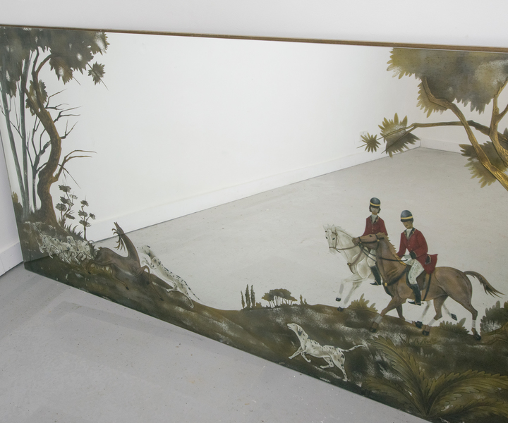 Large Vintage Mirror Of Hunting Scene